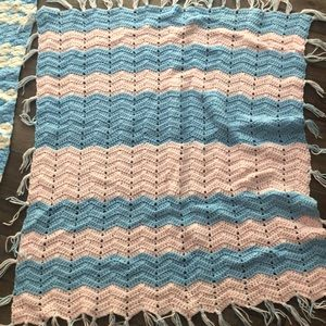Pink and blue hand crocheted baby blanket